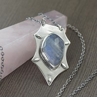 Rainbow Moonstone sterling silver hand fabricated pendant necklace