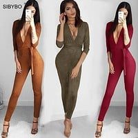 Suede Bodycon Bandage Jumpsuit Women 2016 Deep V Neck  Autumn Winter Rompers Overalls Sexy Bodysuit Slim Club Party Jumpsuits
