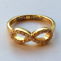 CZ infinity ring with engraved best friends /  Sterling Silver Ring /Bridesmaid gift / Best friend ring /İnfinity ring / Promise Ring