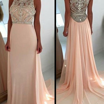 Custom Size Sleeveless Peach High Boat Neck Extensive Crystal Bead Work Formal Evening Red Dresses Long Prom Ball Party Bridesmaid Dress