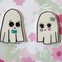 Ghost brooch set, Valentines Day gift, Ghost love, creepy cute, halloween pin, spooky set, tumblr, 90's pin style, halloween, jean jacket