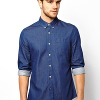 ASOS Denim Shirt In Long Sleeve With Rinse Wash