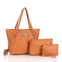 COACH Women Shopping Bag Leather Tote Hand bag Shoulder Bag three pieces