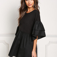 Black Layered Bell Sleeve Flared Blouse