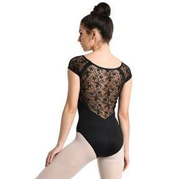 Danz N Motion Women's Black Lace Back Cap Sleeve Leotard