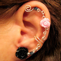 "No Piercing Ear Cuff  ""Roses are Pretty"" Cartilage Conch Helix Cuff Silver tone Prom"
