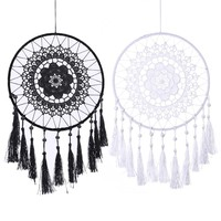 Handmade Lace Flower Dream Catcher Wall Hanging Home Car Decor Craft Black White Dream Catcher