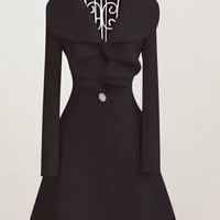 New Style Women Black Woolen Dress Coat (M/L/XL/XXL) = 1920255236