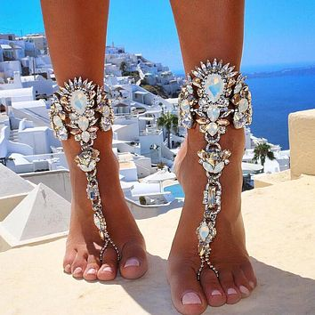 """""""Crystaled Barefoot Beach Foot Jewelry"""""""