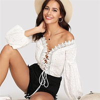 Lace Trim Plunge Neck Eyelet Embroidered Bodysuit Bishop Sleeve Deep V Neck Romper Women White Sexy Bodysuit