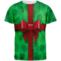 Green Christmas Present Costume All Over Adult T-Shirt