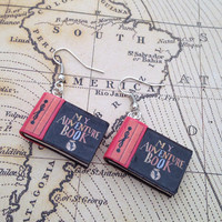 My Adventure Book charm earrings made from polymer clay
