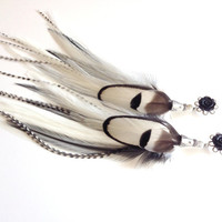 Feather Plugs 2g, 4g, 6g, 0g Dangle Plugs Long Feather Plugs Black and White You Choose Flower Color - Gauged Earrings