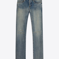 SAINT LAURENT ORIGINAL LOW WAISTED KNEE PATCH SKINNY JEAN IN DIRTY LIGHT BLUE STRETCH DENIM | YSL.COM