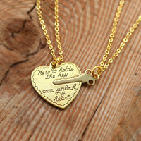 Heart Key Necklace,His and Her Necklaces,HE WHO HOLDS the Key, Heart, Key Pendant Jewelry, Boyfriend Girlfriend Gift