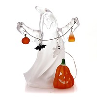 Halloween GHOST HOLDING WIRE GARLAND Lucite Lights Bat Candy Corn Ta9006