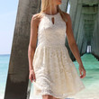 Sarasota Embellished High Neck Lace Cream Swing Dress