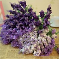 10 Heads Lavender Flowers Silk Artificial Bouquet Wedding Home Party Decor Craft [7982879879]