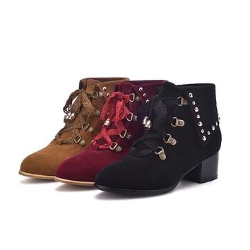 Women's Lace Up Studded Chunky Heel Short Boots