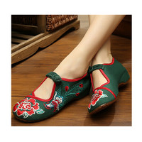 Vintage Mary Jane Flat Ballet Ballerina Cotton Chinese Embroidered Floral Shoes for Women in Gorgeous Green Design