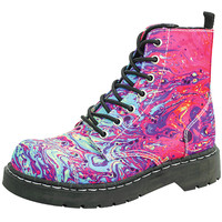 """Women's """"Mixed Paint"""" Combat Boots by T.U.K. Shoes (Pink)"""