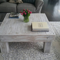 White Wash Square Coffee Table
