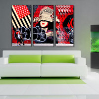 3 Panels,Soho New York old wall, Canvas oil printing.Large size