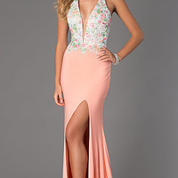 Floor Length Halter Dress with Lace Bodice by Dave and Johnny