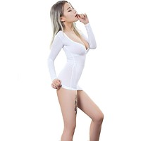 Fantasy Sexy Bridal White Sheer Opaque Vertical Stripes Stretch Bodycon Micro Mini Dress Long Sleeve Deep V Night Clubwear