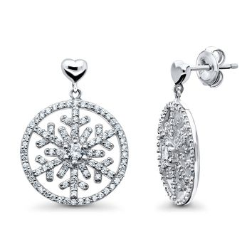 Sterling Silver CZ Snowflake Heart Medallion Dangle EarringsBe the first to write a reviewSKU# e1304-01
