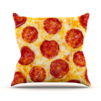 "KESS Original ""Pizza My Heart"" Pepperoni Cheese Throw Pillow"