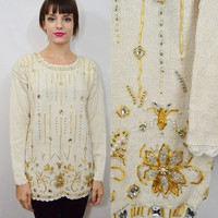 Ugly Christmas Sweater Beaded Poinsettia Small MED 90s Vintage Women's Clothing Jewel Floral Gold White Cream Silver Jewel