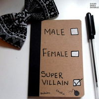 Male/Female/Super villain - Non binary - Gender - Genderfluid - Hand painted one of a kind notebook - sketchbook
