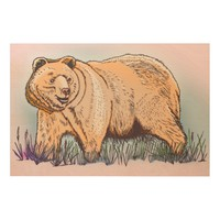 Bear Wood Canvas Wood Wall Art