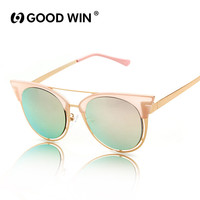 GOOD WIN Cateye Pink Rose Gold Sunglasses Vintage Round Circle Glasse Women Brand Designer 2016 New UV400 Glasses Oculos de sol