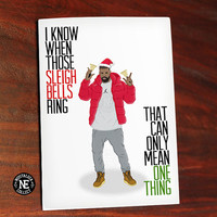 Drake Lyrics Inspired Christmas Holiday Greetings Card - Hotline Christmas Bling - 5X7 Inch Card