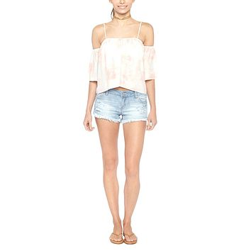 Flores Flowy Off Shoulder Top - Shorebreak Ginger Pink Tie Dye Print