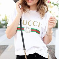 GUCCI Summer Hot Sale Women Men Casual Print Round Collar T-Shirt Top