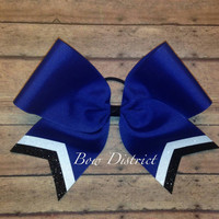 """3"""" Royal Blue Team Cheer Bow with White and Black Glitter Tail Stripes"""