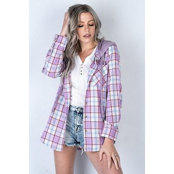 Lavender and Pink Plaid Hooded Flannel