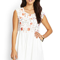 LOVE 21 Embroidered Woven Dress Cream/Coral