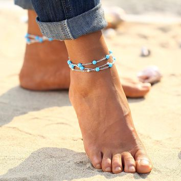Multi-Layer Turquoise Bead Ankle Bracelet In Silver or Gold For Woman or Teens Casual or Beach Wear