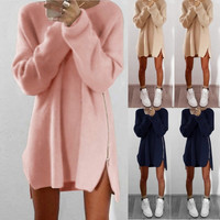 2016 Women Winter Long Sleeve Zip Jumper Tops High Quality Knitted Sweater Loose Tunic bodycon Dresses Vestidos