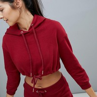 South Beach Drawstring Crop Hoodie In Red at asos.com
