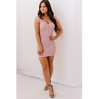 Set The Stage Ribbed Bodycon (Mauve)