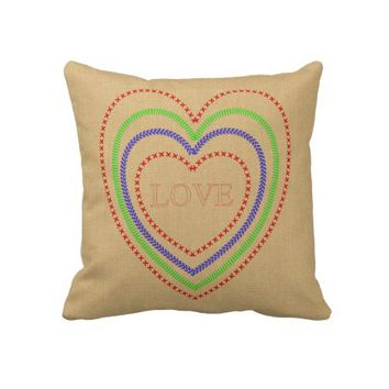 Vintage Inspired Cross Stitch Love Heart Pillow from Zazzle.com
