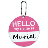 Muriel Hello My Name Is Round ID Card Luggage Tag