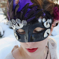 Black Masquerade Mask Silver Masquerade ball mask feather black mardi gras mask halloween mask black swan mask fairy mask venetian mask SWAN