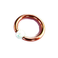 BCR,Rose Gold Captive White Fire Opal Bead Septum,Upper Ear Daith Rook,Tragus,Cartilage,Helix,Hoop Earring,Nose Ring,Eyebrow Piercing