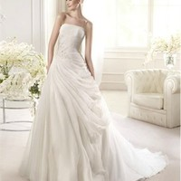 White Ball Strapless Beading Lace Tulle 2013 Wedding Dress IWD0184 -Shop offer 2013 wedding dresses,prom dresses,party dresses for girls on sale. #Category#